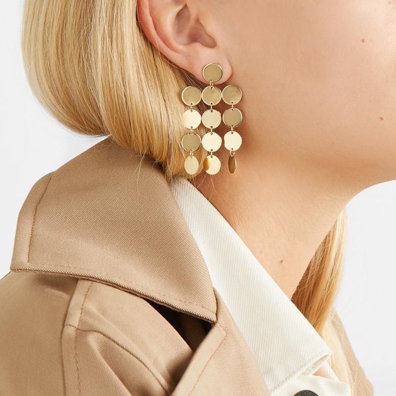 Gold Turkish Coin Long Drop Tassel Earring for Women Boho Disc Geometrical  Satement Metal Dangle Earrings Ethnic Jewelry