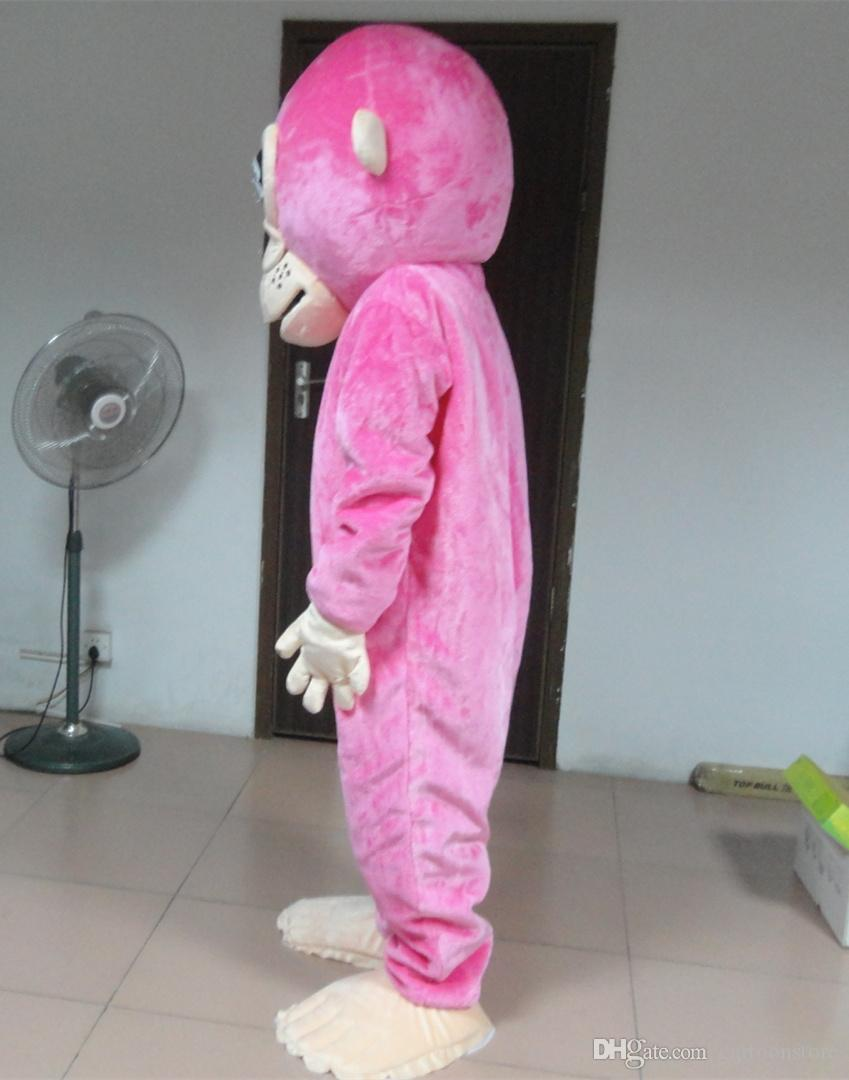 Quality Cartoon Pink Monkey Party Costume xmas Monkey Mascot Outfit Halloween Chirastmas Party Fancy Dress Mascot Costumes