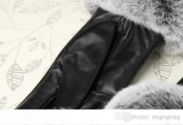 CALIENTE con logo C guante de cuero real con pelo de conejo negro Guante tactil de buena calidad sin caja de regalo Anita