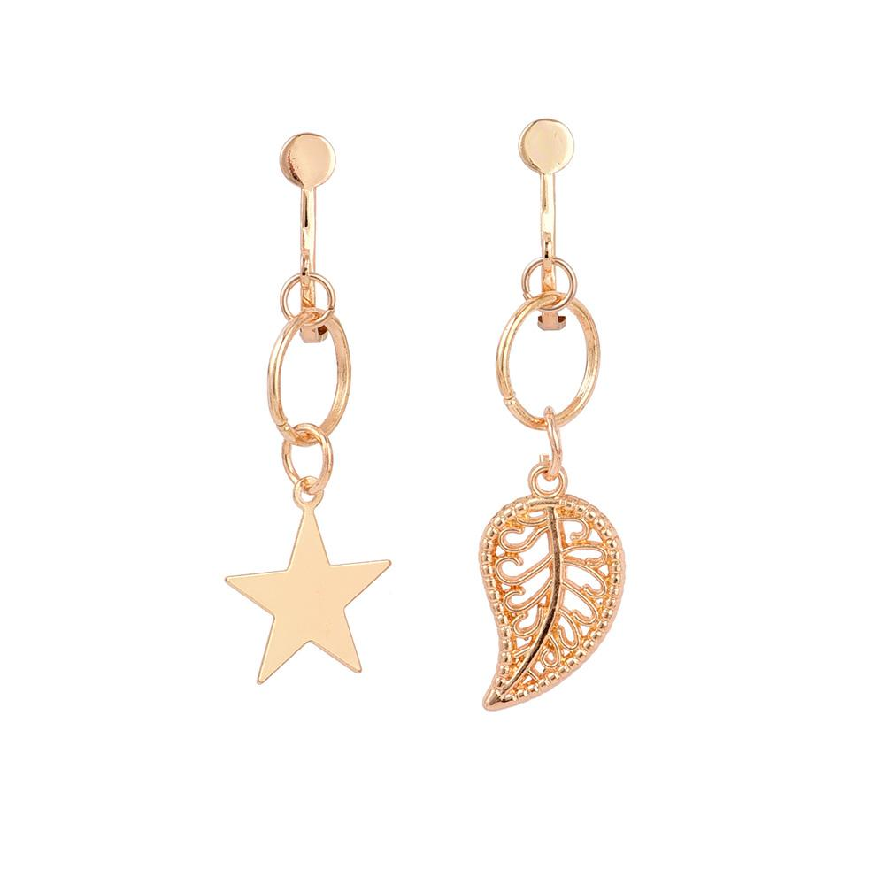 New Asymmetric star Leaf Drop Dangle Ear Clip Ear Cuff Earrings No Hole Ear Clip Earrings Gold Color Without Piercing For lady