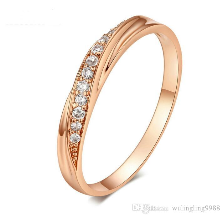 6 Colors Austria Crystal Silver Ring Fashion Silver Color Rose Gold Ring Diamond Rings Silver Ring Lover Rings Wedding Rings MOQ 30 pcs