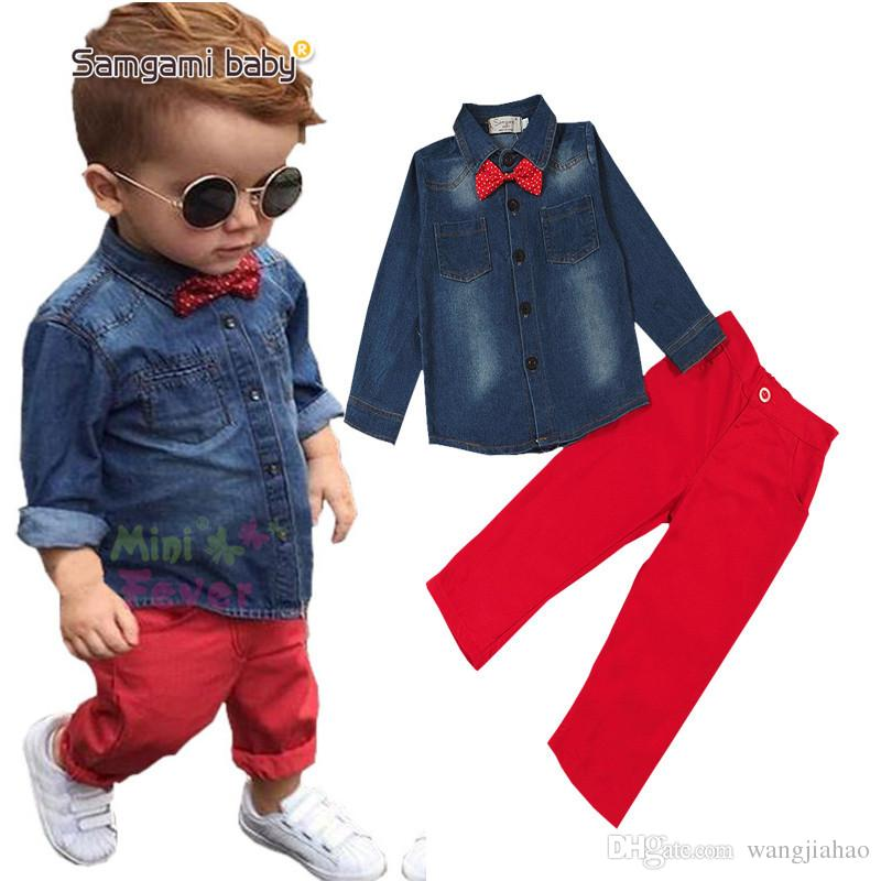 Boys Kids Two Piece Suit Baby Boys Kids Clothes Europe And the United  States New Fashion Big Handsome Boy Soft Cowboy Shirt + Pants Suit Dresses  Women s ... 7a66286bf5