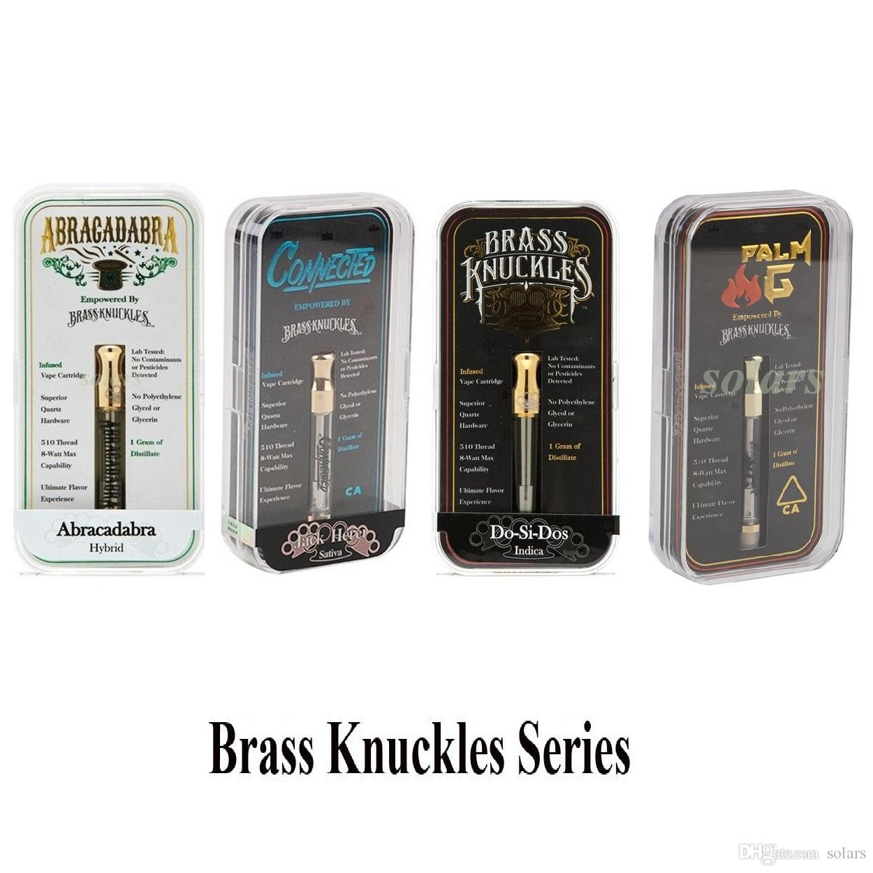 Newest Brass Knuckles Cartridge 1.0ml Connected Abracadabra Cotton and Ceramic Coil Vape Carts in Acrylic Box