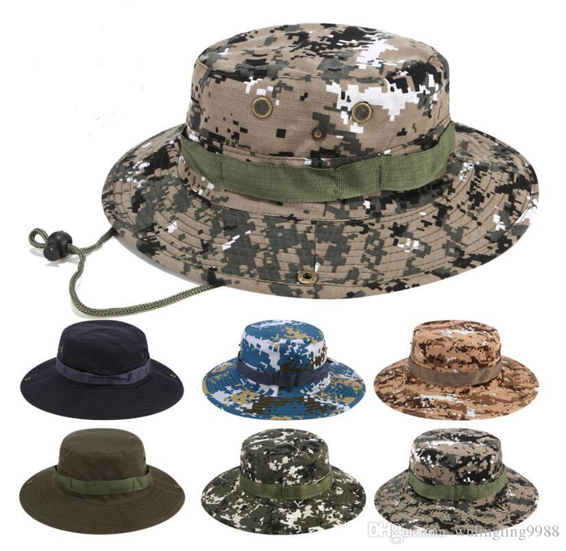 63a411e198b Foldable Cotton Boonie Hat Sport Camouflage Jungle Military Cap Adults Mens  Womens Cowboy Hats For Fishing Packable Army Bucket Caps Floppy Hats Black  ...