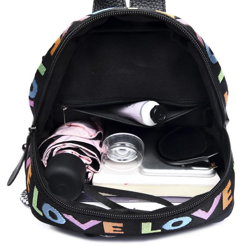 Mode Rucksack LIEBE Kordelzug Schultasche Frauen Teeneger College Buch Tasche Rucksack Taschen Reisetaschen 27x20x16 cm 0,33 kg