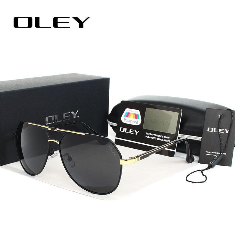 4f056659d Compre OLEY 100% Gafas De Sol Polarizadas Lentes De Alta Definición Marcos  De Aleación De Color De La Película Pilotos Gafas De Espejo Oculos Gafas De  ...