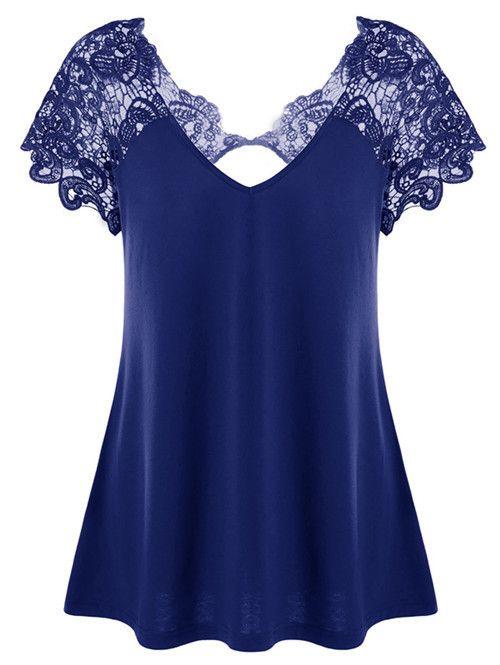 Hot sale women's fashion V-neck lace patchwork sexy pure color cotton short sleeve T-shirt plus size S-5XL