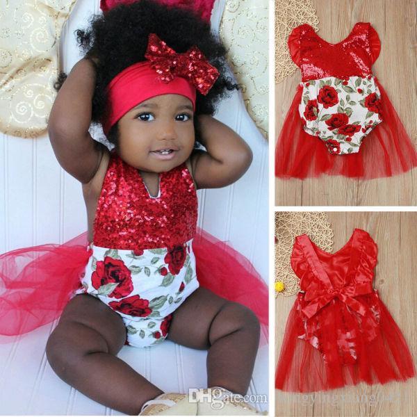 08bc193dbf33 Rojo recién nacido bebé niña floral lentejuelas sin espalda mameluco mono  vestido vestido traje de sol traje de sol 0-2Y KA797