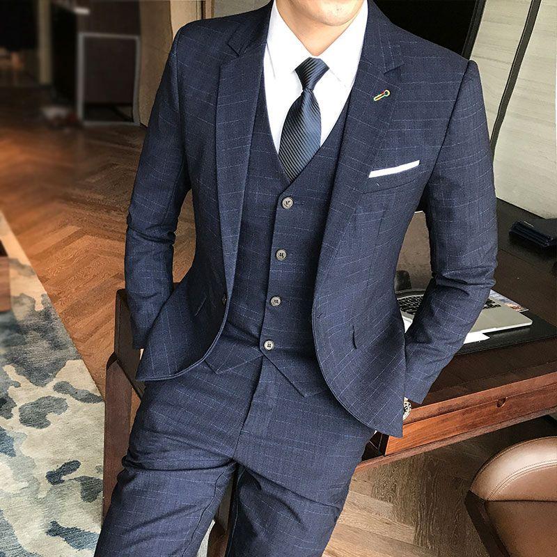 7fefc97a Compre Traje Hombres Invierno Nuevo Traje Conjunto Talles Grandes Azul  Oscuro Check Business Dress Ropa Informal Para Hombre Trajes De Boda De Un  Solo Pecho ...