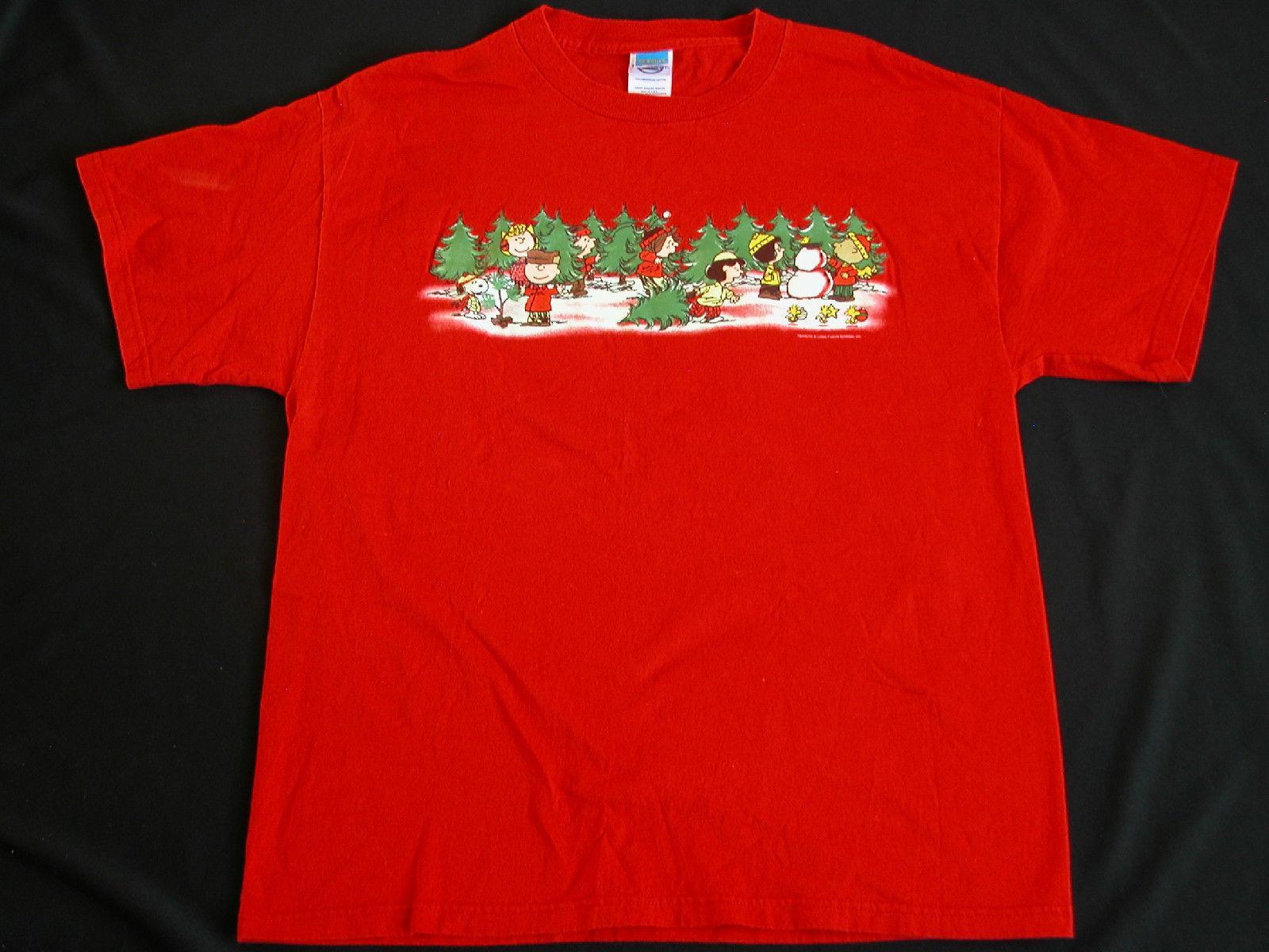 vtg 1990s charlie brown christmas t shirt peanuts schulz christmas tree shopping crazy tee shirts novelty t shirt from pitshop 1101 dhgatecom