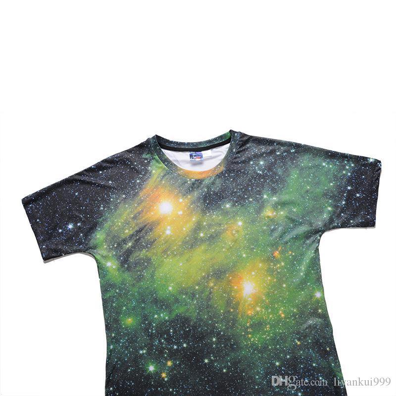 2018 yaz ve yeni gömlek 3D dijital Baskı Yıldızlı gökyüzü erkekler T-shirt kişiselleştirilmiş Sokak kısa kollu gömlek
