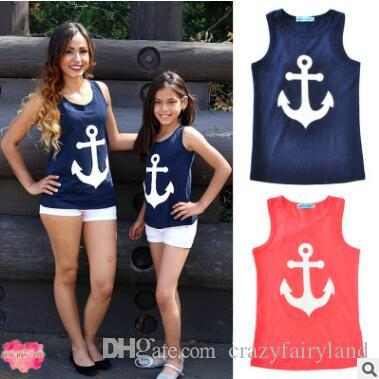 21aeddeec9cc Mother And Daughter Matching T Shirt Tops Outfits 2018 Summer Sleeveless  Cotton Anchor Printed Tops Mother Daughter Clothes Family Clothing Matching  Mommy ...