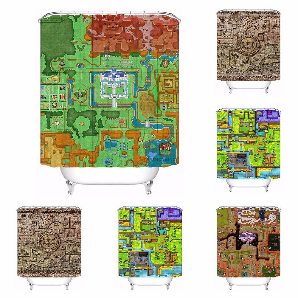 2018 Custom Zelda Map Bathroom Acceptable Shower Curtain Polyester Fabric 180320 01 197 From Icelly 3148