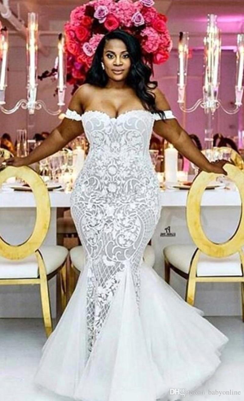 متواضع زائد حجم فساتين الزفاف حورية البحر قبالة الكتف الحبيب البوق أثواب الزفاف الاجتياح قطار تول الرباط appliqued فستان الزفاف BA4945