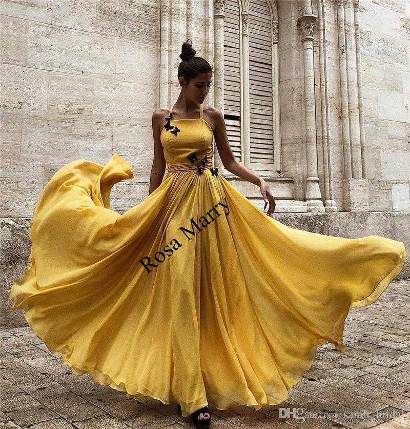 Elegant Yellow Long Chiffon Cheap Prom Dresses 2020 A Line Backless Plus Size 3D Butterfly Arabic African Formal Evening Party Gowns