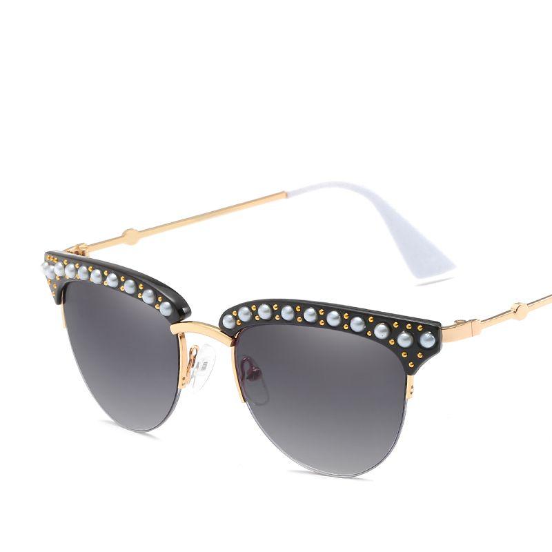 0c6833cbcc Compre Gafas De Sol De Las Mujeres Gafas De Abrigo De Metal Sombra Redonda  Diseñador De La Marca Gafas De Sol Espejo Plano Retro UV400 Cat Eye  Brand1513 A ...