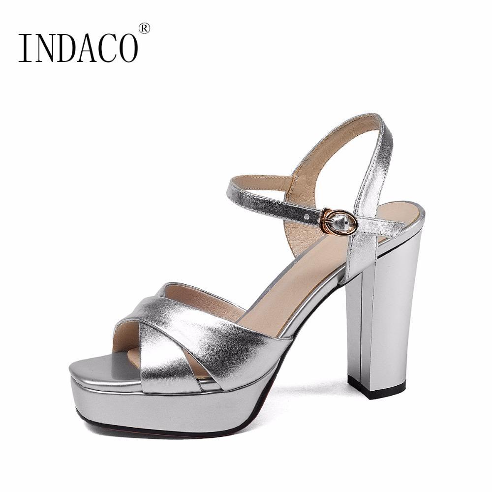 2018 Silver Platform Sandals Sandales Femme Leather Nouveau Ankle 80wPnOkX