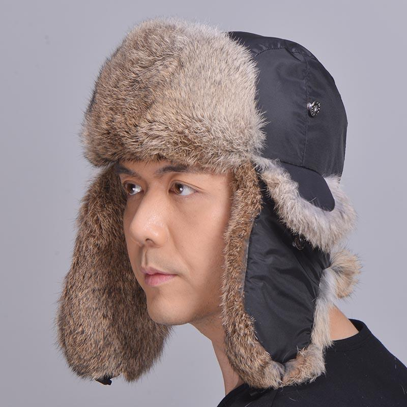 fe2972954dad3 Unisex Genuine Rabbit Fur Trapper Hat Rabbit Fur Earflap Cap Winter Skiing Hat  Natural Fur Bomber Hat Man Women Canada 2019 From Yangfurworld