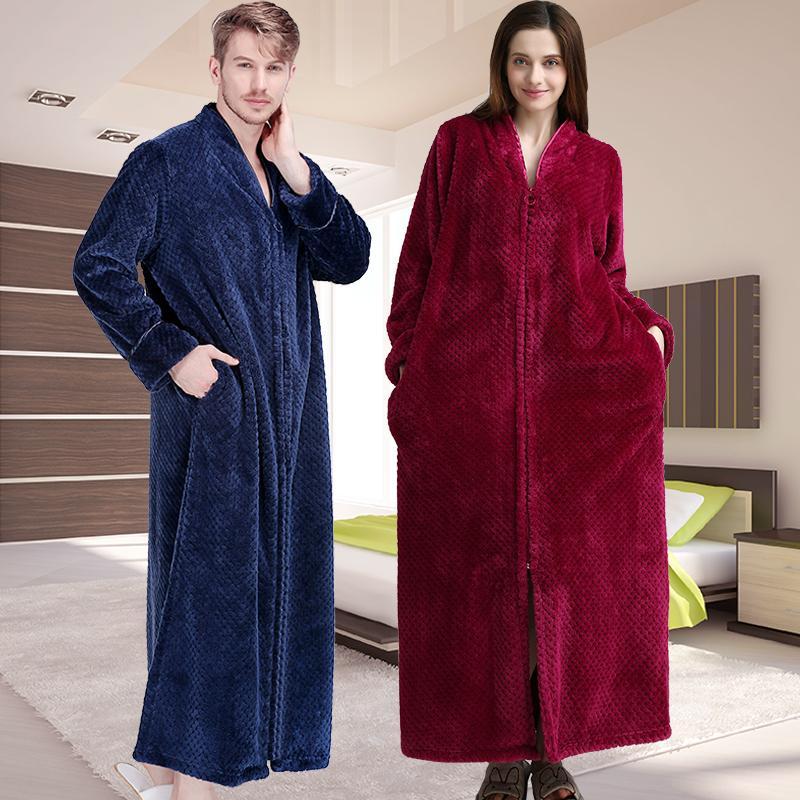 7f6ba7e500 2019 Men Winter Thermal Plus Size Extra Long Thick Grid Flannel Bathrobe  Mens Zipper Warm Bath Robe Dressing Gown Male Luxury Robes From Hongyeli