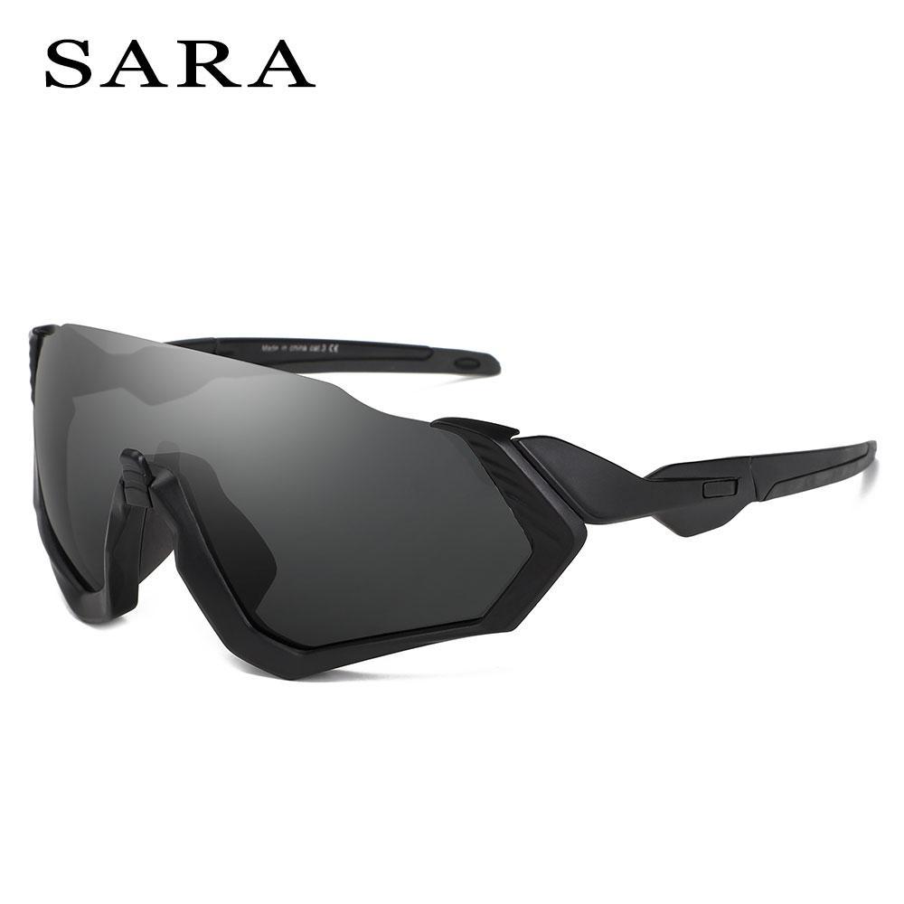 007ac19bd1d Compre SARA Hombres De Gran Tamaño Gafas De Sol Deporte Gran Marco Negro  Gafas De Sol Gafas A Prueba De Viento Mujeres Moda Recubrimiento De  Conducción ...