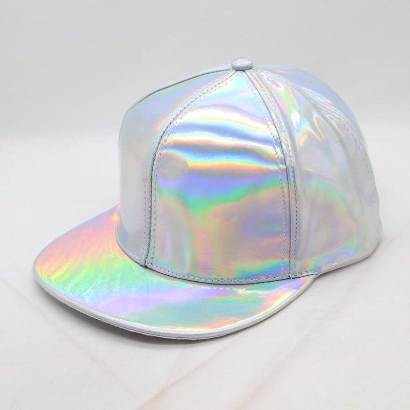 55b193619436a SUOGRY New Fashion Hip Hop Cap Women Men Silver Color Shiny Metallic Laser  Leather SNAPBACK Baseball Caps Hats Cap Rack Caps From Jianyue16