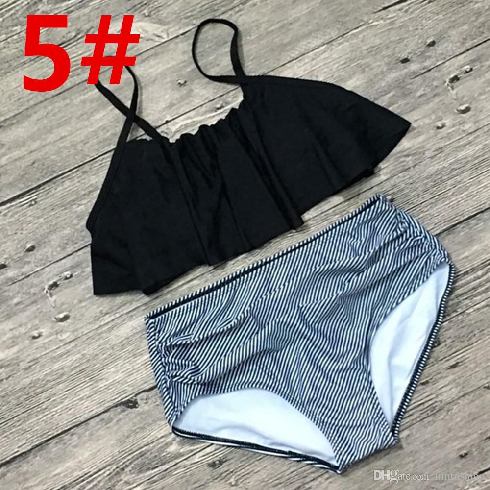 Cintura alta Biquíni 2018 Flounced Swimwear Mulheres Maiô De Duas Peças Listrado Maiôs Top Colheita Biquini Push Up Swim Praia Desgaste
