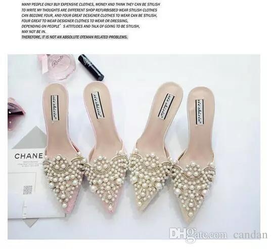 757a54c191ef56 Acheter Perle Strass Chaussures À Talons Hauts Pour Les Dames Pointues  Chaussures Toe Rose Et Beige Sandale Chaussures Taille 35 39 Livraison  Gratuite De ...