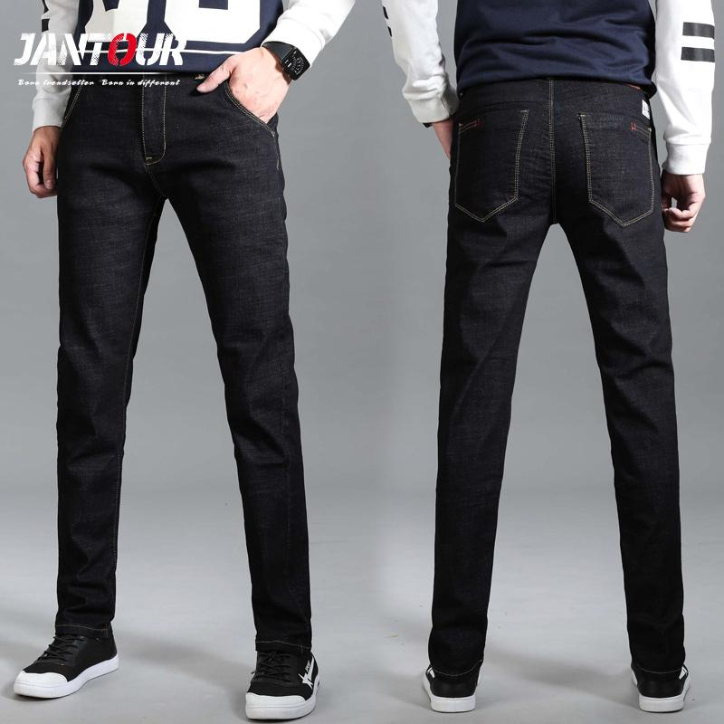 bd2a576ce7bd 2018 New Men s Jeans Winter Stretch Dark Blue Business Casual Denim Pants  Men Slim Scratched Cowboys Jeans Men Plus Size 40 42 Online with   91.98 Piece on ...