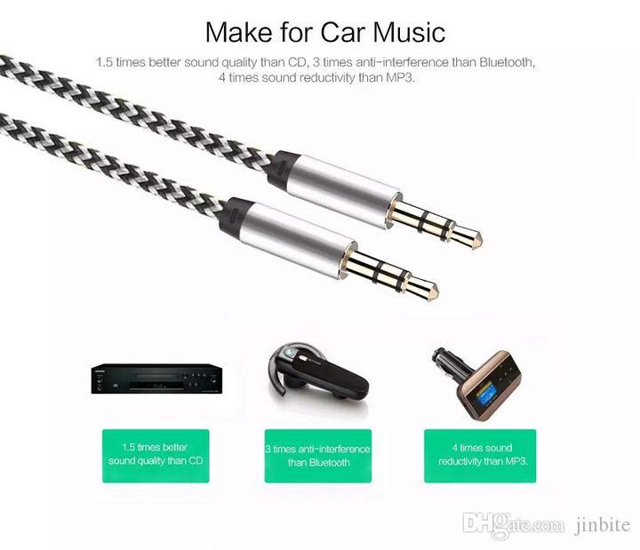 Braided Woven AUX Audio Cable 1M 3FT 3.5mm Jack Stero Car Aux Audio Extention Cables For phone PC MP3 Headphone Speaker