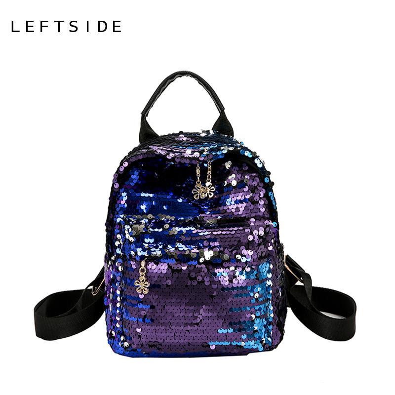195dccf92b LEFTSIDE 2018 Bling Sequins Backpack Women Small School Backpacks Girls  Back Pack Fashion Back Packs Travelling Bags For Teens Backpacks For Kids  Backpack ...