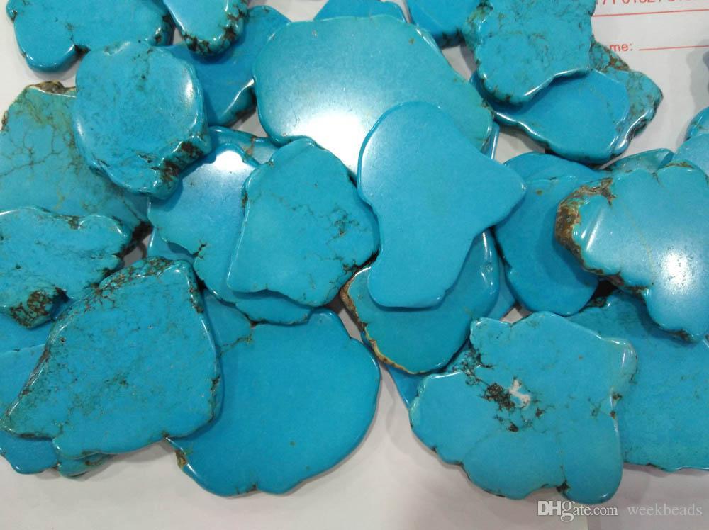 0eb478cc93f9 Compre Largee Piedra Turquesa 15 100mm Losa De Forma Libre Azul Verde  Turquesa Cabujones Rojo Naranja Rosa Blanca Turquesa Joyería A  9.85 Del  Weekbeads ...