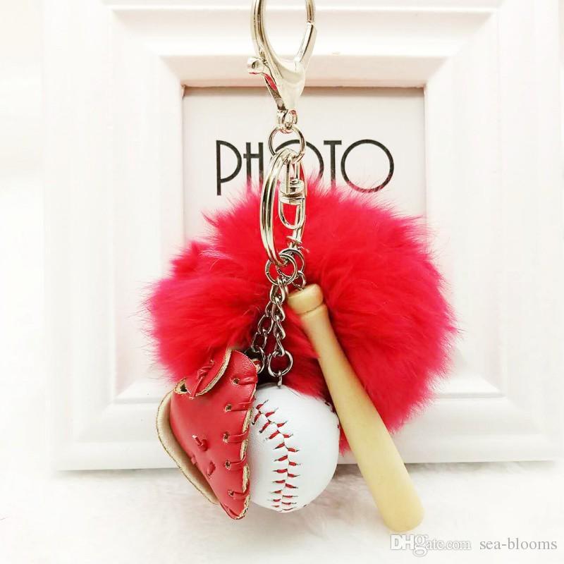 Cute Mini Baseball Glove Wooden Bat Keychain Sports Keyring Fur Ball Key Holder For Man Gift Support FBA Drop Shipping G632Q