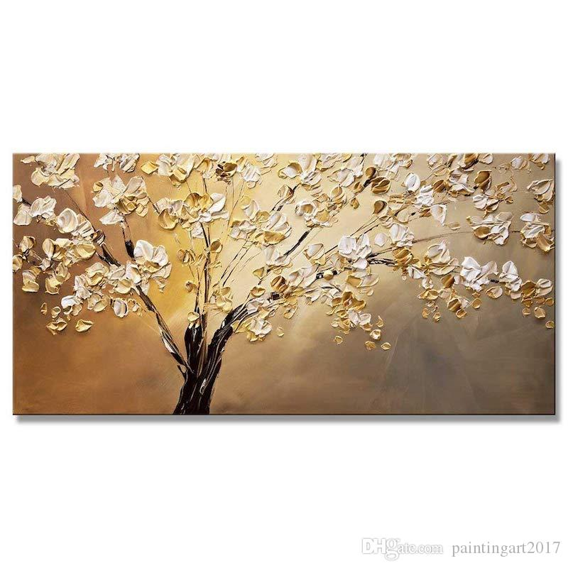 Handmade Modern Palette Knife Blooming Tree Painting On Canvas Hand Painted Decorative Wall Pictures Home Decor Gift