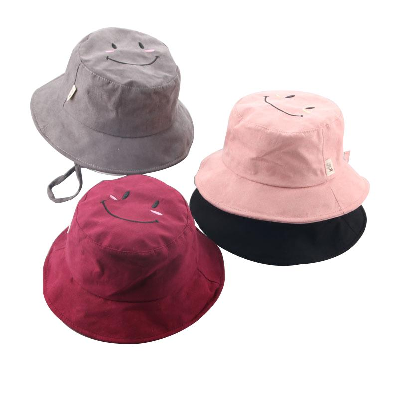 2019 Foldable Sun Hat Travel Outdoor Hiking Cap Children Unisex Smile  Printed Tie Rope Cute Cotton Breathable Colored Bucket Caps From  Miaoshakuai d7af00643c7