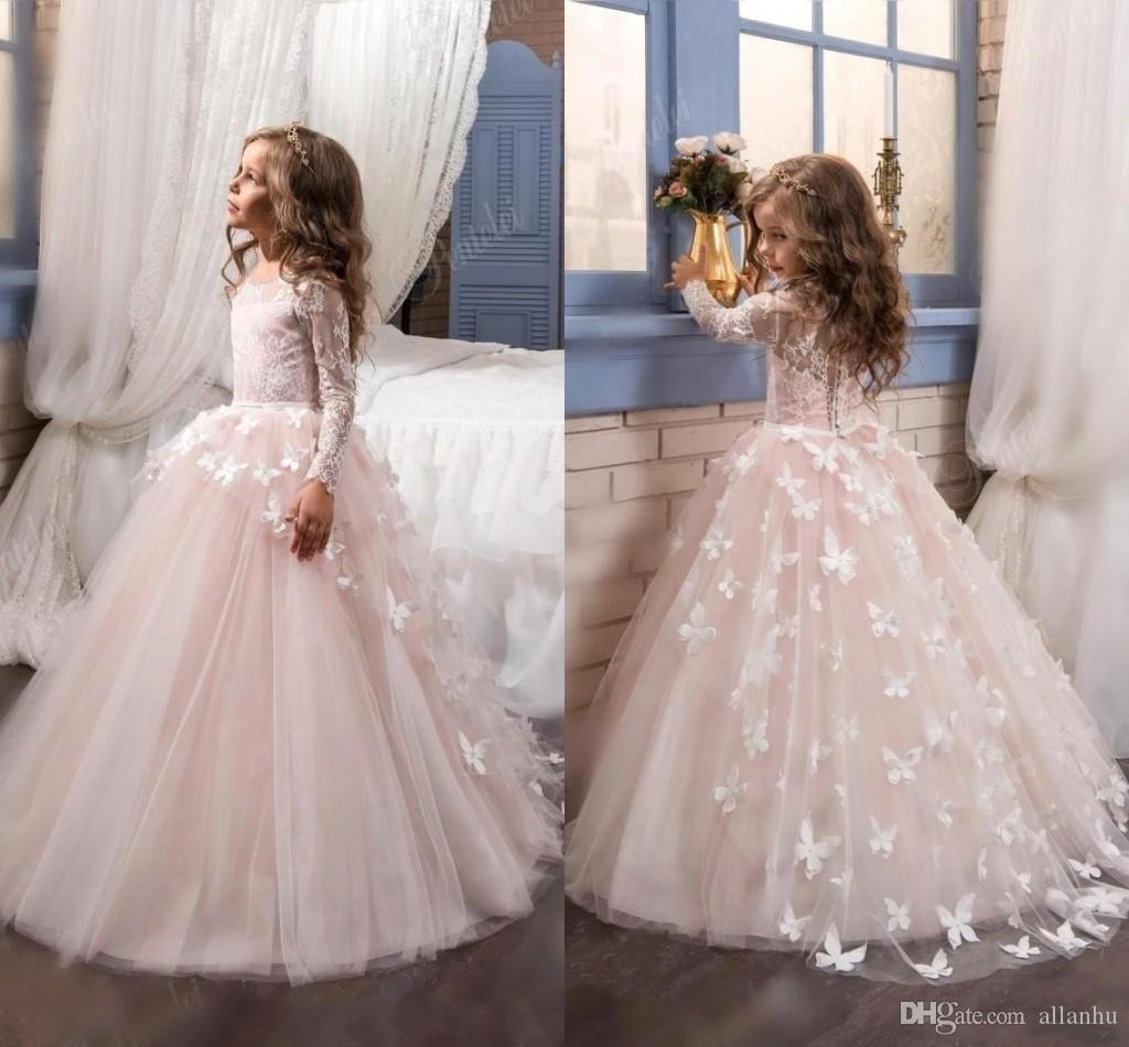 Lovely 2018 New Arrival Lace Flower Girl's Dresses Long Illusion Sleeves Jewel Neck Ball Gown Handmade Butterflies Girl's Pageant Dresses