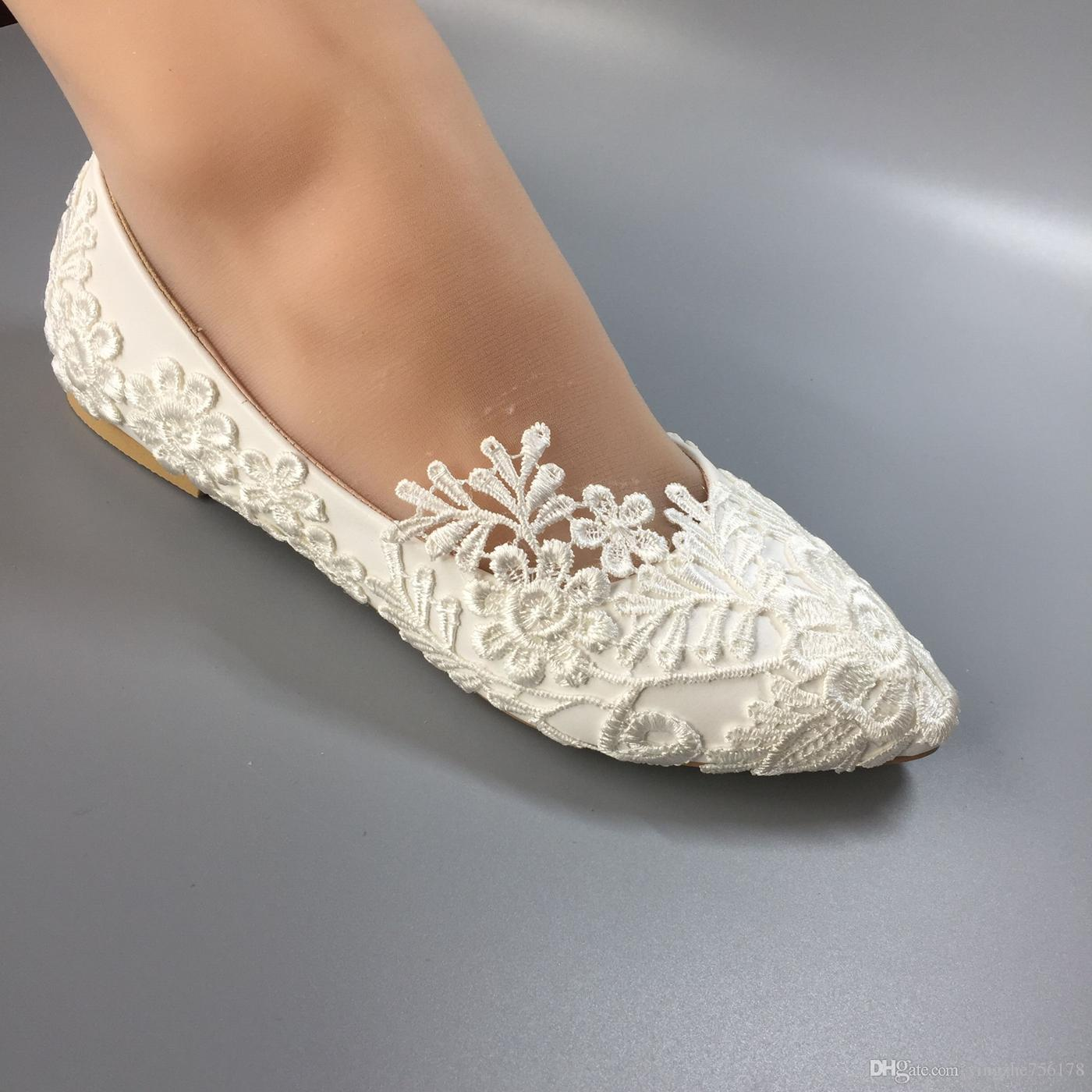 7ecd392b6bd Compre MUJER Zapatos De Boda A Prueba De Agua Vestidos De Novia De Novia  Blancos Edición De Han Diamante Encaje Manual De Boda BRIDAL FLAT Zapato  Femenino ...