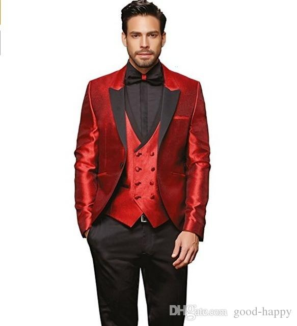 Handsome Red Peaked Lapel One Button Groom Tuxedos Men's Wedding Dress Prom ClothingJacket+pants+tie+Vest NO; 462