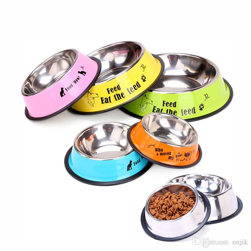 5 Size Stainless Steel Color Spray Paint Pet Dog Bowls sport travel Pet dog  cat food feeder Outdoor Drinking Water Fountain pet feeding tool