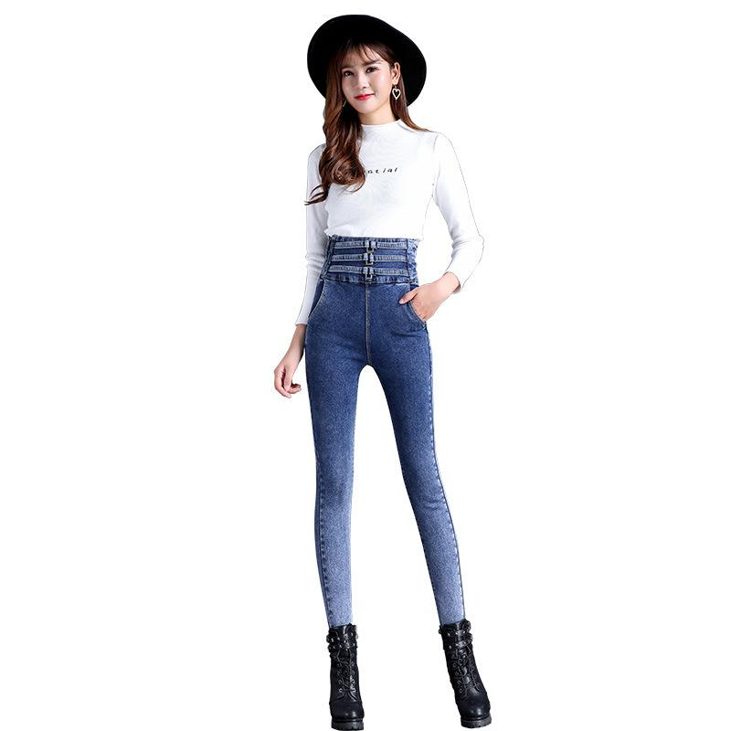 a883aad0a62 2019 High Waist Skinny Fashion Jeans For Women 2018 Autumn New Girls  Elastic Slim Denim Cowboy Pencil Pants Plus Size Women From Weilad