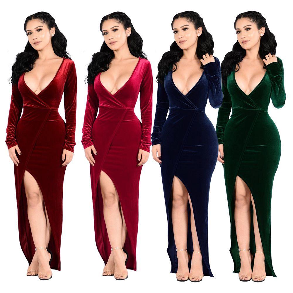 6ec152a76ee92 Velvet Maxi Dresses With High Split For Women Christmas Evening Party Deep  V Neck Long Dress