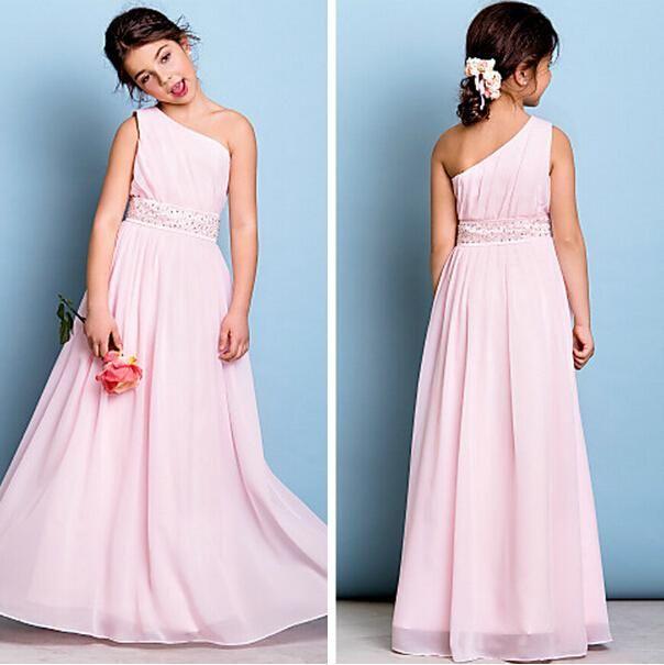 e2dbafa75e5 Floor Length One Shoulder Pink Junior Bridesmai Dress With Beads Long  Chiffon Flower Girl Dress With Pleats Red Flower Girl Dresses Toddler Girl  Dresses ...