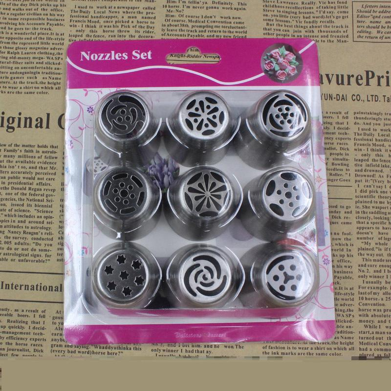 9Pcs/Lot Russian Tulip Nozzle Perfect For Cake Cupcake Decorating Icing  Piping Nozzles russian rose nozzles tips