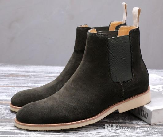 db5a777a Compre Zapatos De Tobillo De Calidad Superior De Los Hombres Botines  Casuales De Cuero Mate Antideslizante Suela De Goma De Vestir Suela De Goma  Grandes ...