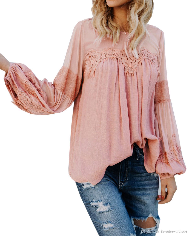455d3539281b7c Women s Illusion Lace Splice Long Sleeve Loose Blouse T-Shirt Casual ...