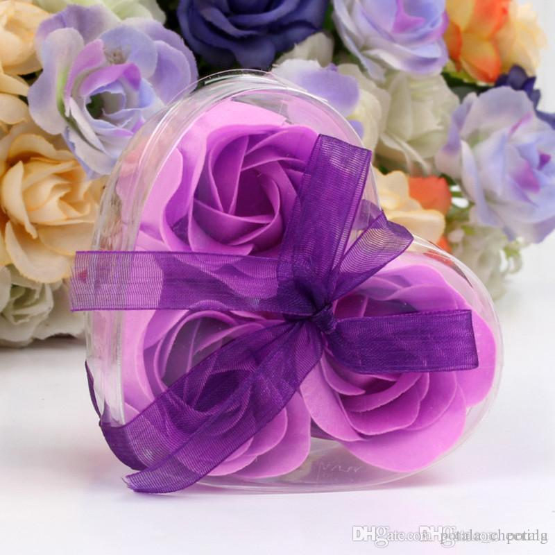 Acheter Set Savon Fleur Forme De Coeur Fait Main Rose Petales De