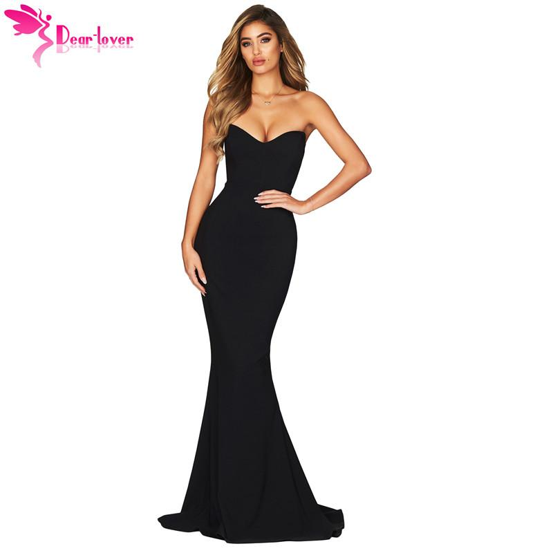 2019 Dear Lover Sexy Long Party Dress Black Strapless Sweetheart