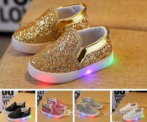 f9a77806eb Kids Glowing Sneakers Baby Girls Boys LED Light Shoes Toddler Anti Slip  Glitter Sequins Sports Casual Shoes Boy Shoes Online Kids Saddle Shoes From  ...