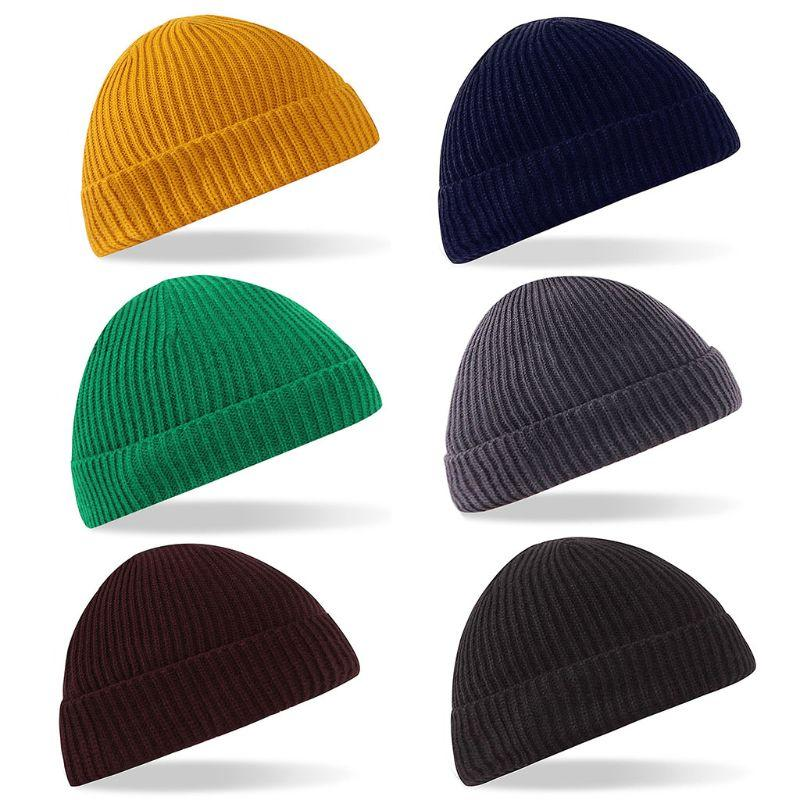 0c6d2ae8532 2019 Women Men Unisex Winter Ingots Ribbed Knitted Hat Cuffed Solid Color  Single Flanging Vertical Stripes Baggy Beanie Cap Slouchy From Fwuyun