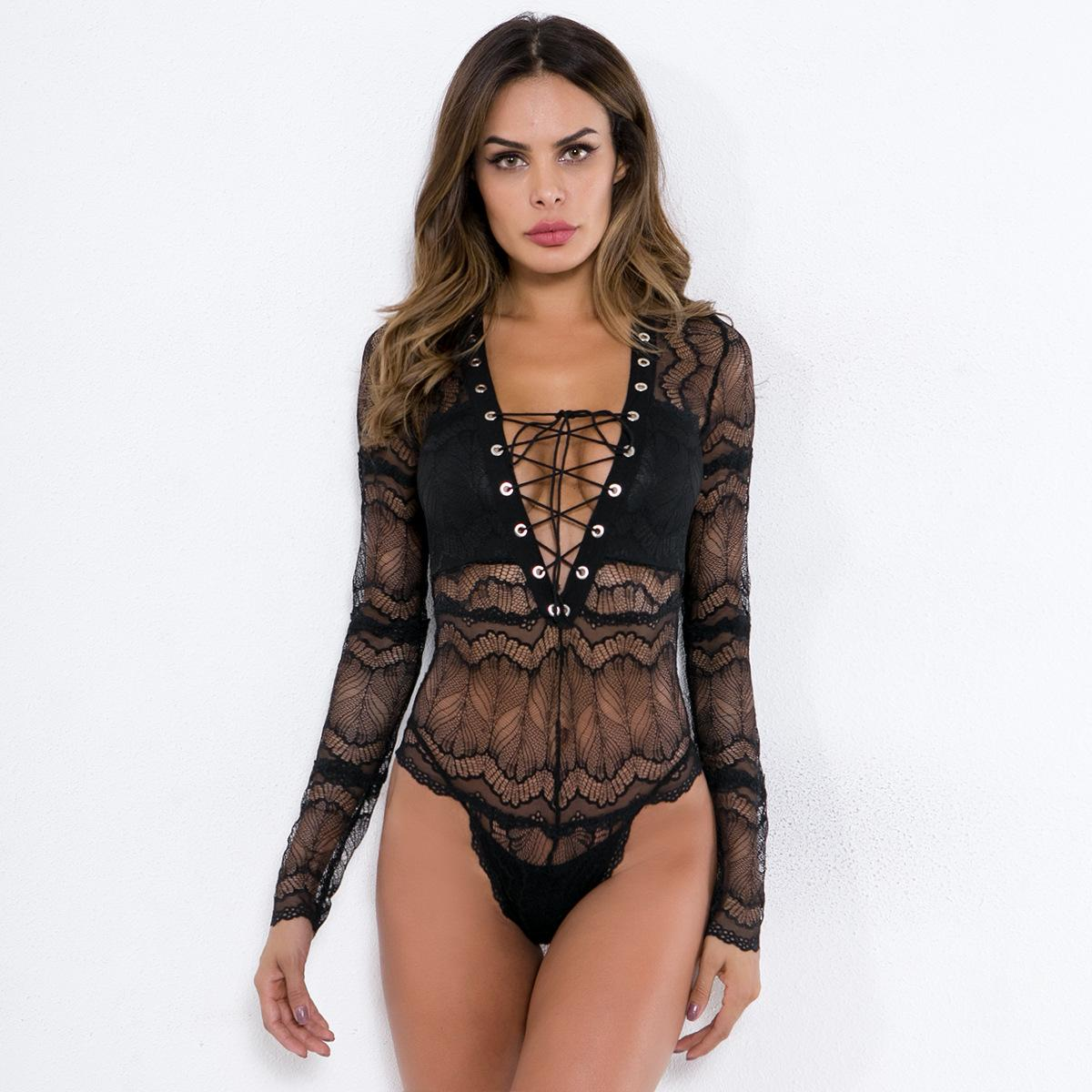 753453c247 2019 Women Sexy Hollow Out Black White Lace Bodysuit See Through Skinny  Long Sleeve Top Body Mujer Jumpsuit Rompers Club Deep V Neck Bodysuits From  ...