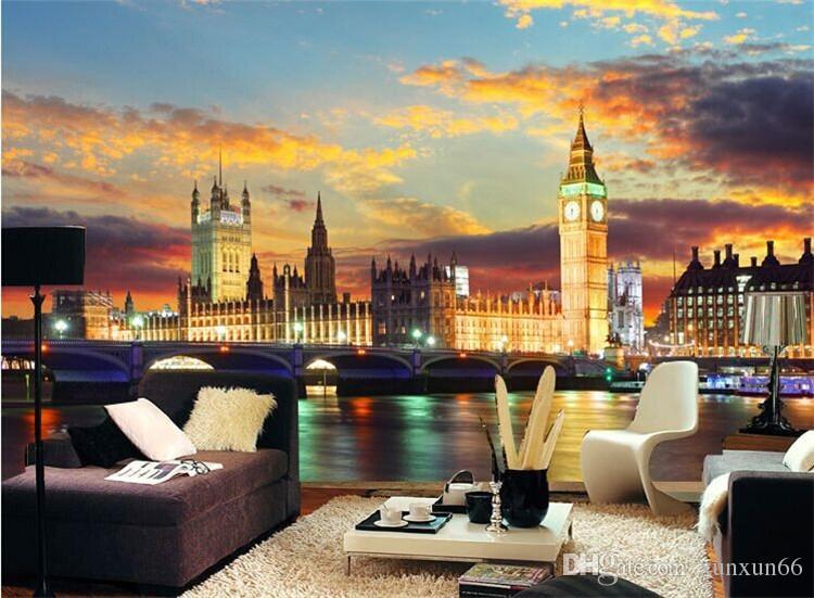 런던 밤 도시 벽화 큰 벤 3D 벽 벽 벽지 Berdroom 소파 배경 3D 벽화 프레스코 3D 벽 스티커